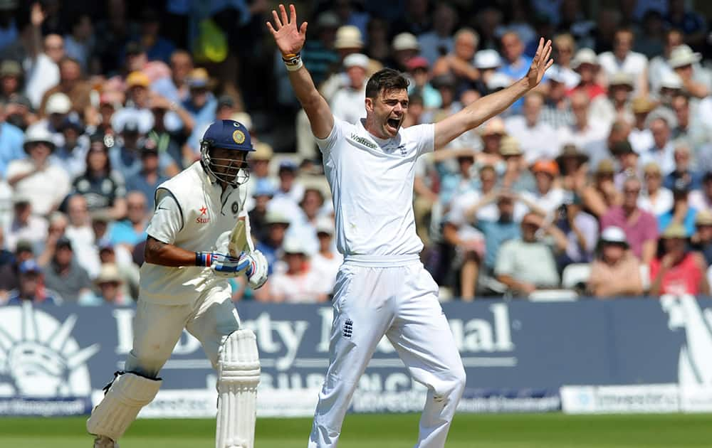 England's James Anderson celebrates India's Murali Vijay wicket LBW for 146 runs during day two of the first Test between England and India at Trent Bridge cricket ground, Nottingham, England.