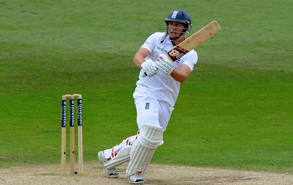 England's Gary Ballance plays a shot during day three of the first Test between England and India at Trent Bridge cricket ground, Nottingham, England.