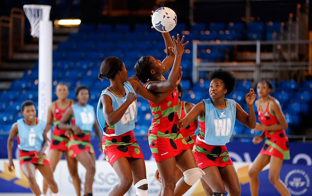 Players of Malawi practice netball one day before the opening of the Commonwealth Games 2014 in Glasgow, Scotland.