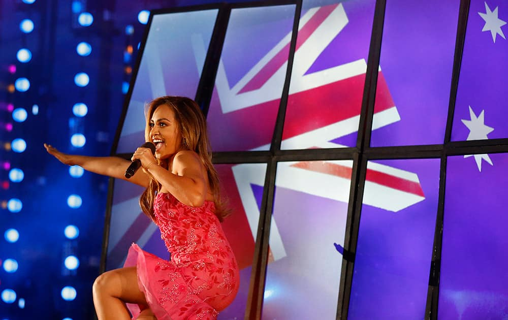 Australian singer Jessica Mauboy performs onstage during the Closing Ceremony for the Commonwealth Games Glasgow 2014, at Hampden Park stadium, in Glasgow, Scotland.