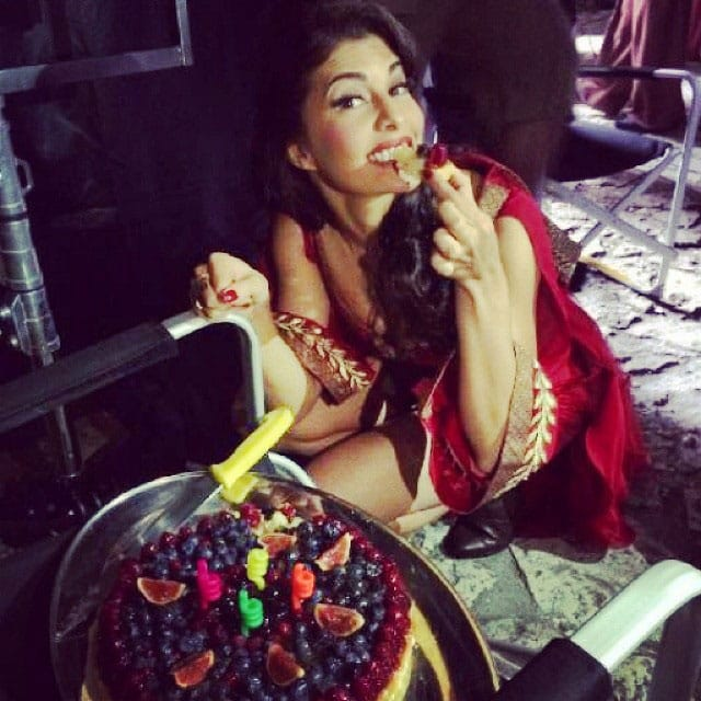 Jacqueline Fernandez Actress - Thank you team #bangistan for the cake with all the berries < highlight for sure was the birthday song in Polish!!! @biancahartkopf I liked your present the most < - instagram