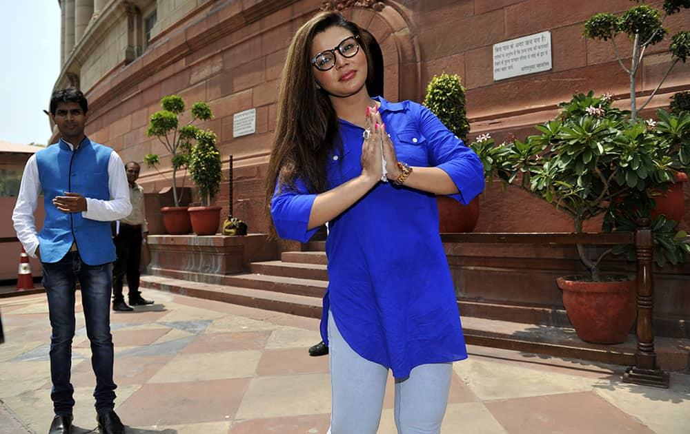 Actress and RPI leader Rakhi Sawant at the Parliament in New Delhi. - dna