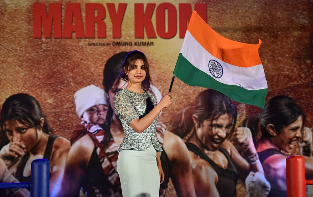 Bollywood actress Priyanka Chopra during the promotion of her forthcoming film Mary Kom, in Mumbai.