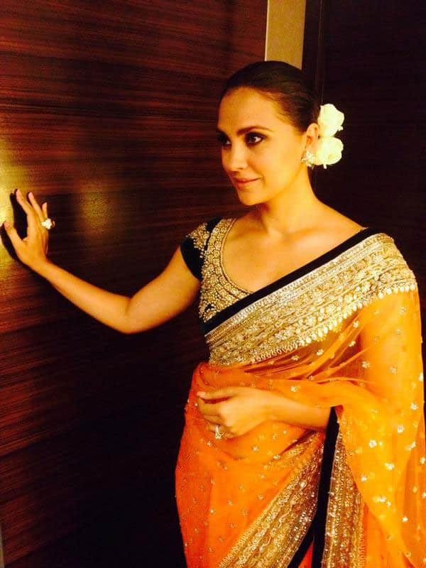 Lara Dutta Bhupathi - Feeling rather patriotic in Pune in my Saffron and green Manish Malhotra saree!!! Now off to see ' The Trump'!! - twitter