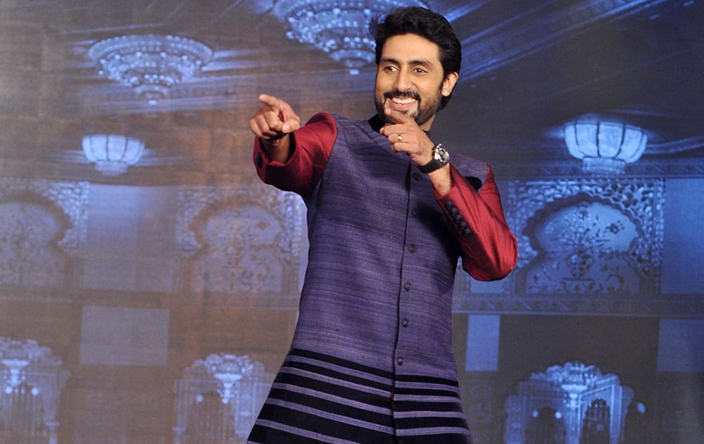 ABHISHEK BACHCHAN AT HNY TRAILER LAUNCH IN MUMBAI.