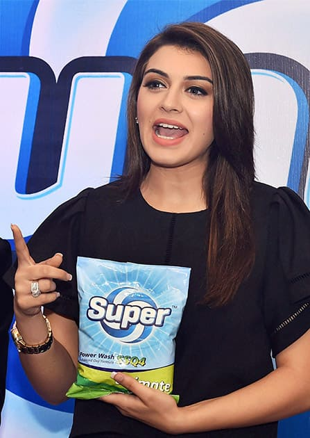 Actress Hansika Motwani at a promotional event in Chennai on Monday evening.