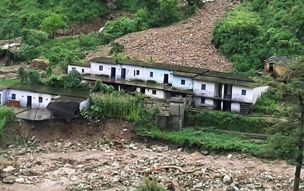 Heavy rains resulting flash flood and landslide damaged several houses in Henwal vally of Chamba block in Tehri Garhwal.
