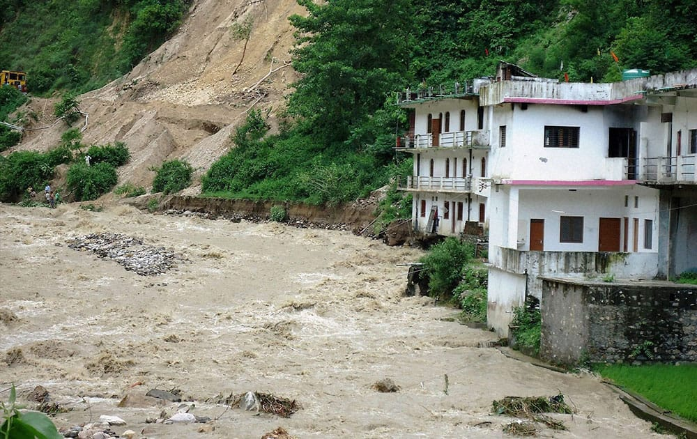 Heavy rains flood and landslide damaged several houses in Henwal vally in Tehri Garhwal.