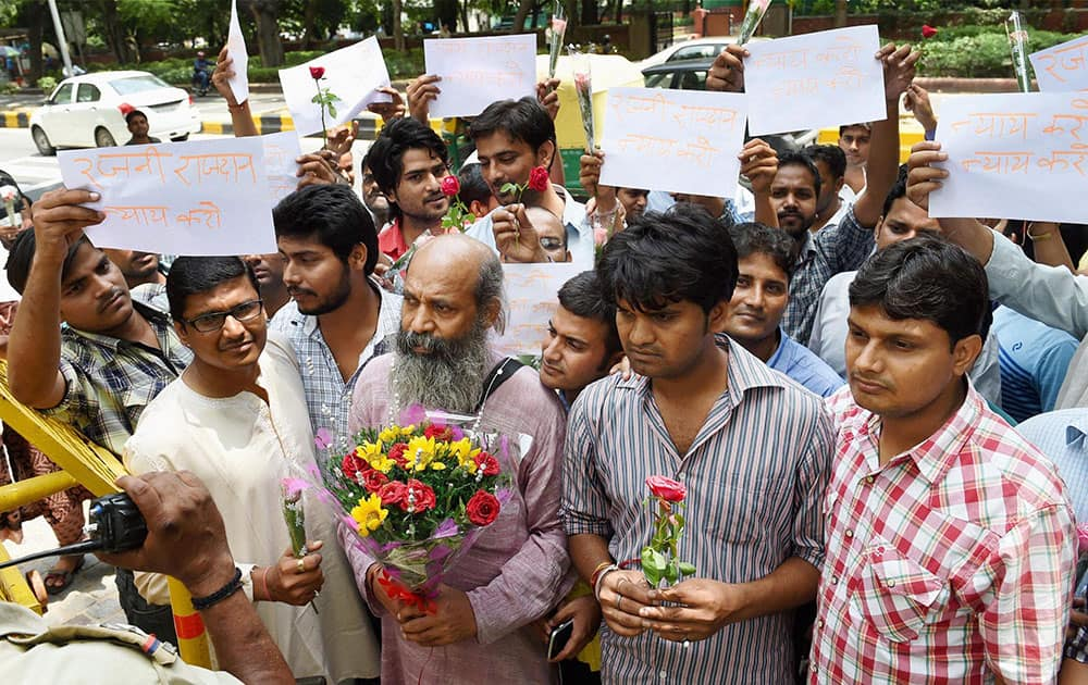 IAS aspirants protest against introduction of CSAT in Civil Services Exams outside the UPSC in New Delhi.