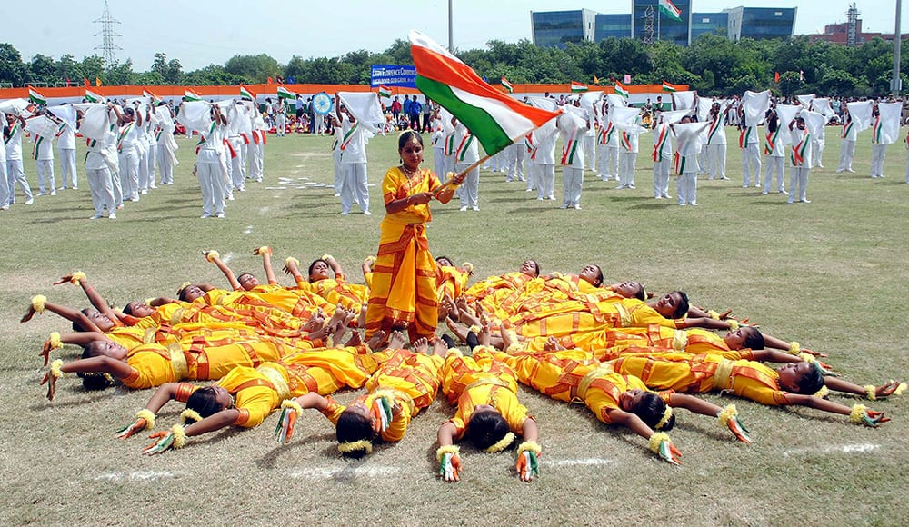 Children performing at an Independence Day function in Gurgaon.
