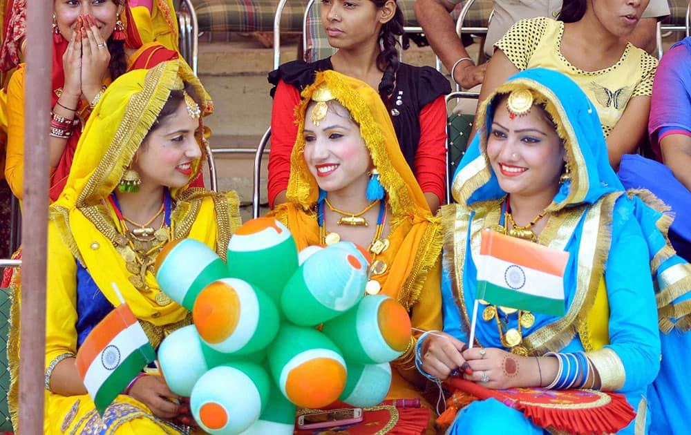 Girl performers in a jubilant mood during the Independence Day function in Patiala.