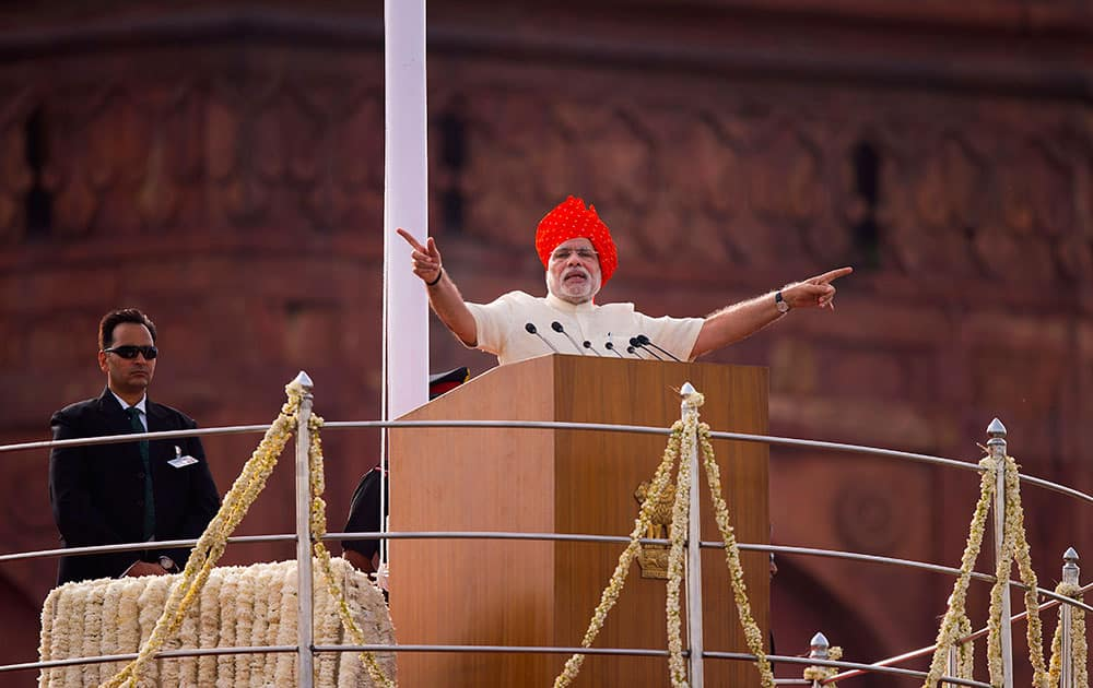 Narendra Modi addresses the nation on the country`s Independence Day from the ramparts of the historical Red Fort in New Delhi.