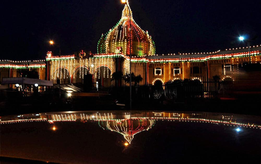 Uttar Pradesh Vidhan Sabha illuminated ahead of Independece Day in Lucknow.