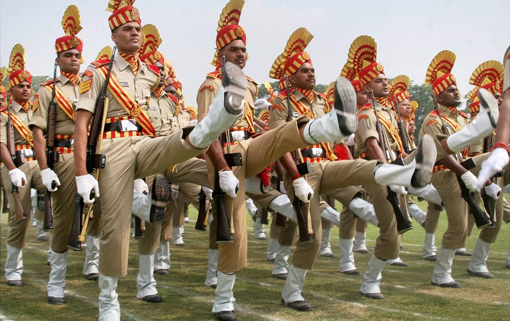 CRPF personnel take part in full dress rehearsal of Independence Day parade at Bakhshi Stadium in Srinagar.