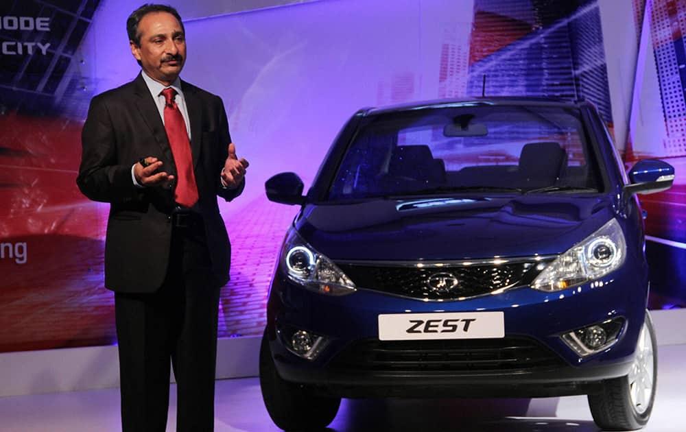 Ranjit Yadav, President, Passenger Vehicle Business Unit, Tata Motors during the launch of the new Zest in Mumbai.