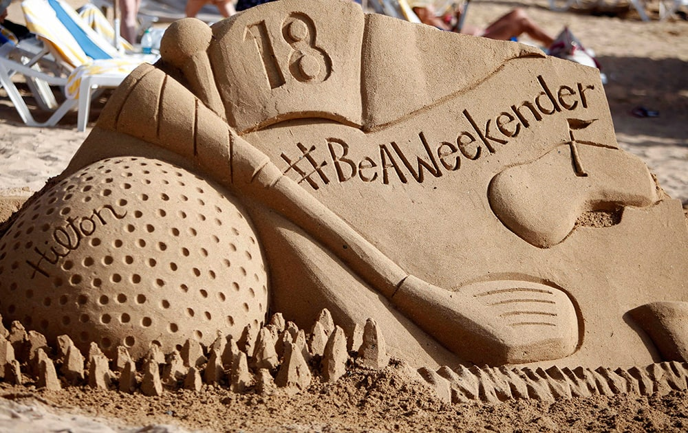 Sand sculptures were created to celebrate National Play in the Sand Day at Caribe Hilton, in San Juan, Puerto Rico.