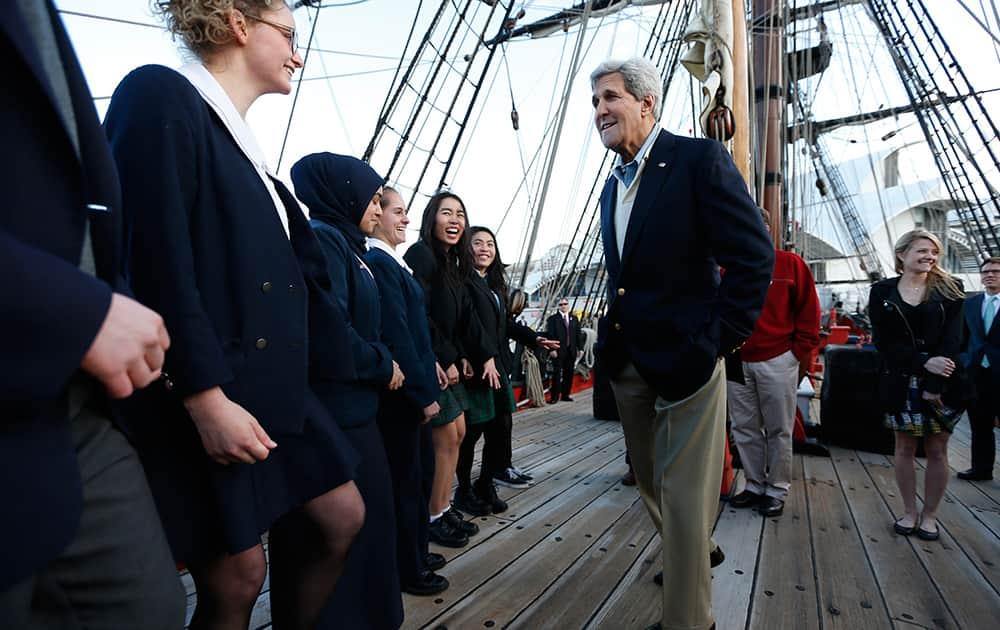 US Secretary of State John Kerry meets students from several Sydney high schools during his visit aboard a replica of Captain Cook`s ship `Endeavour` at the Australian National Maritime Museum in Sydney, Australia.