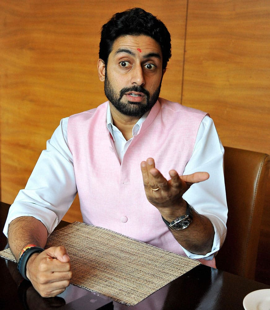 Bollywood actor Abhishek Bachchan during his interaction with the media ahead of the Pro- Kabbadi match in Jaipur.