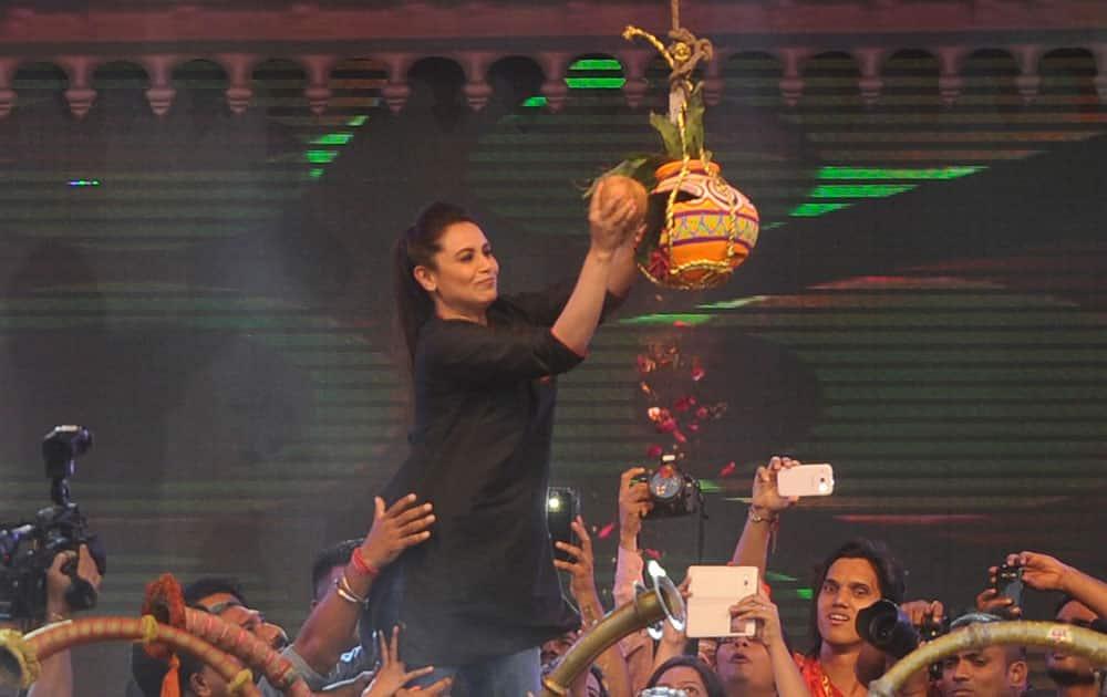 Rani Mukherjee during dahi handi celebration in Mumbai. dna