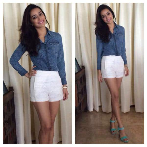 Shraddha Kapoor ?- & for the launch wearing a GAS shirt, Zara shorts, Madison Harding shoes #Haiderpromotions :) -twitter