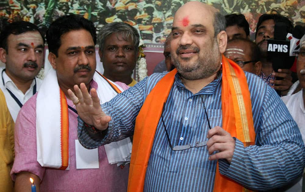 BJP President Amit Shah during the inauguration programme of Prime Minister Narendra Modi`s Parliamentary office in Varanasi.