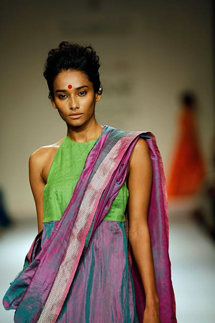 A model displays creations by Vaishali S on the second day of the Lakme Fashion Week in Mumbai.