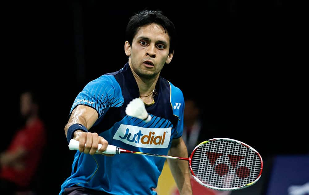 India's Kashyap Parupalli returns a shot to Germany's Dieter Domke, during a match at the World Badminton Championships at Ballerup Arena, Copenhagen, Denmark.