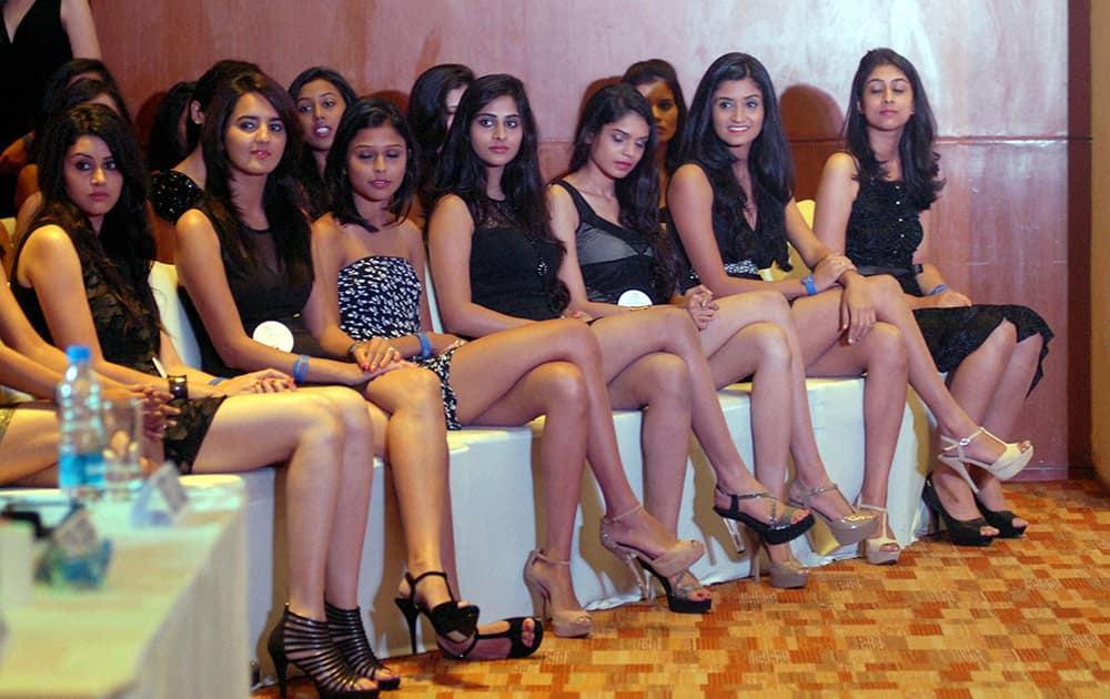 Contestants during an audition for Diva Miss Universe 2014 in Pune.