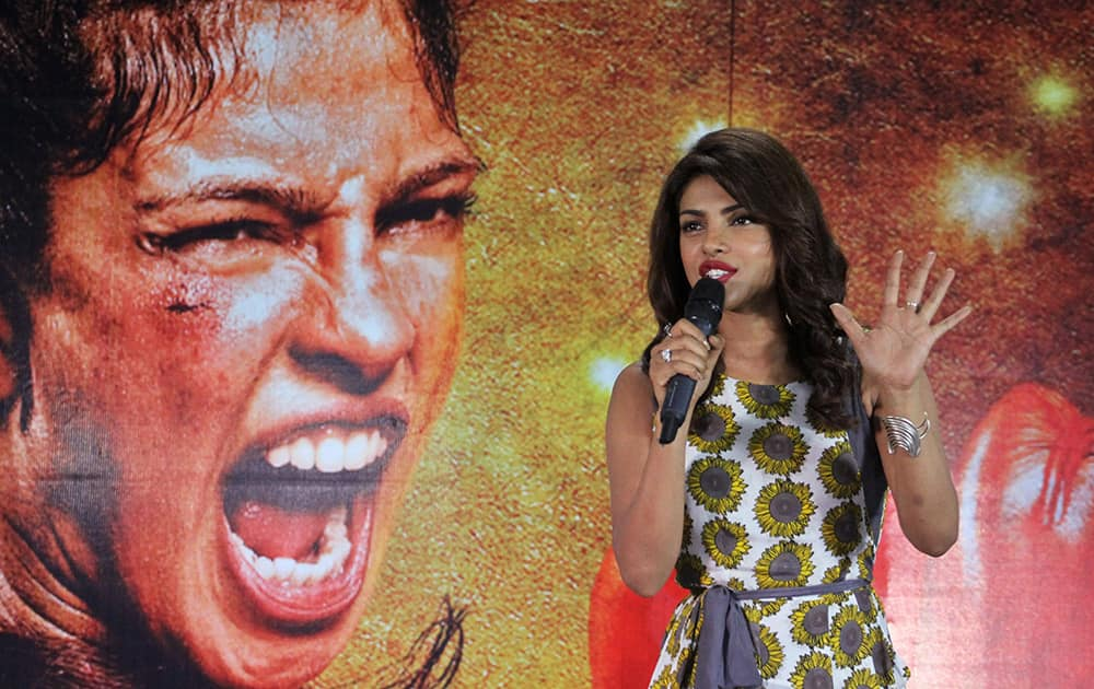Bollywood actress Priyanka Chopra speaks during a promotional event for her upcoming film 'Mary Kom' in Ahmedabad.