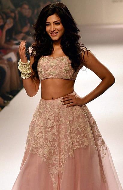 Bollywood actress Shruti Haasan during the Lakme Fashion Week Winter/Festive 2014 in Mumbai.