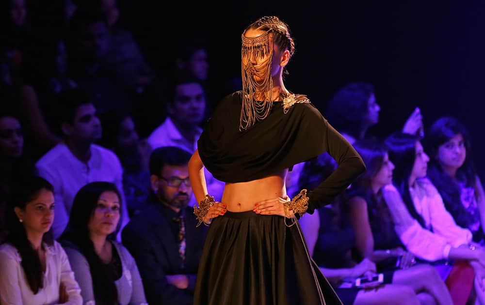 A model displays a creations by Shantanu and Nikhil during the Lakme Fashion Week in Mumbai.