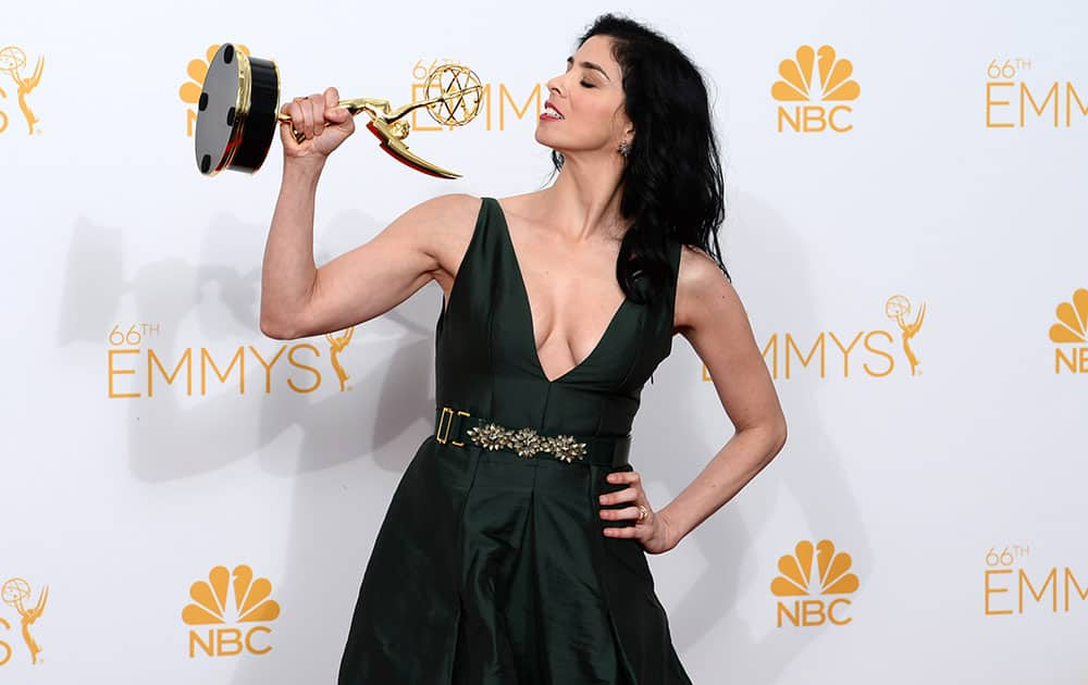 Sarah Silverman poses in the press room at the 66th Annual Primetime Emmy Awards at the Nokia Theatre L.A.