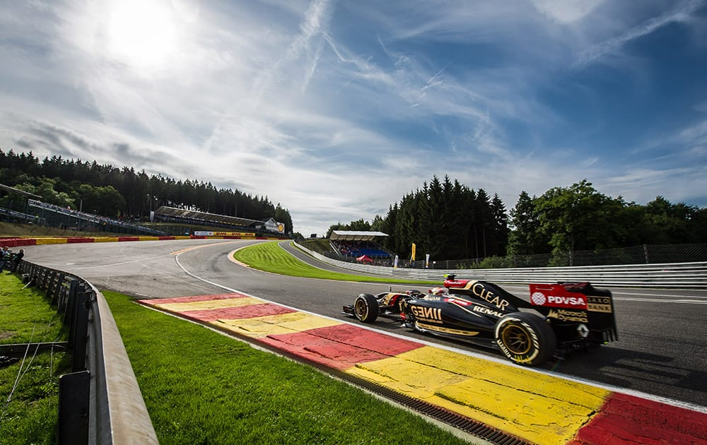 Lotus driver Pastor Maldonado of Venezuela steers his car during the first practice session ahead of Sunday`s Belgian Formula One Grand Prix in Spa-Francorchamps, Belgium.