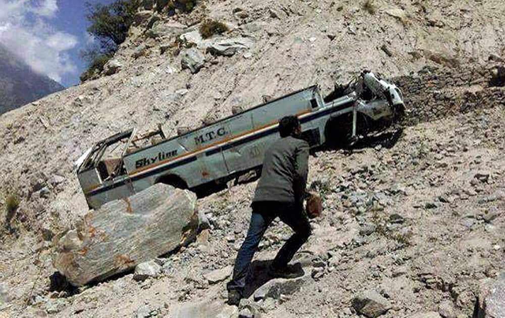 The private bus which rolled 400 feet down into a gorge that killed nearly 23 people, at Kinnau.