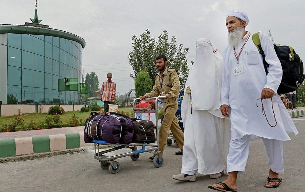 Haj pilgrims arrive at Haj House Bemina in Srinagar. The first batch of 275 Haj pilgrims left for Jeddah from Srinagar Airport to perform annual Haj pilgrimage.