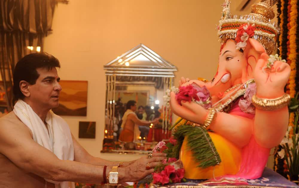 Jeetendra during the Ganesh Chaturthi celebrations at his residence in Mumbai.