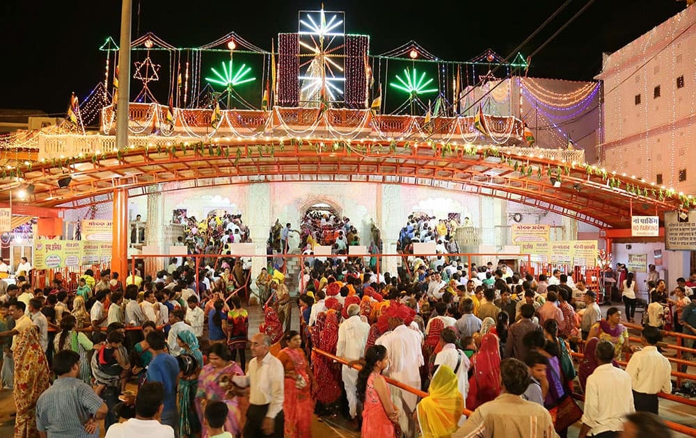 Moti Dungri Ganesh temple in Jaipur decorated with lights on the eve of Ganesh Chaturthi festival.