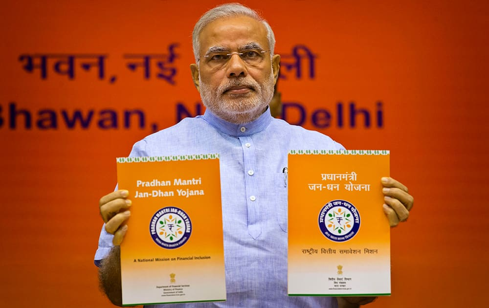 NarendraModiofficially launches a campaign aimed at opening millions of accounts for poor Indians, saying it would give the poor