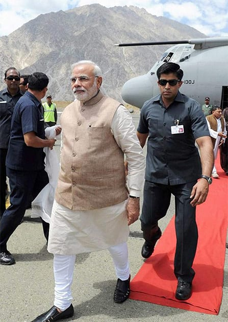 Modi visited Kargil and accused Pakistan of waging a proxy, terrorist war because it was too weak to fight a conventional one.