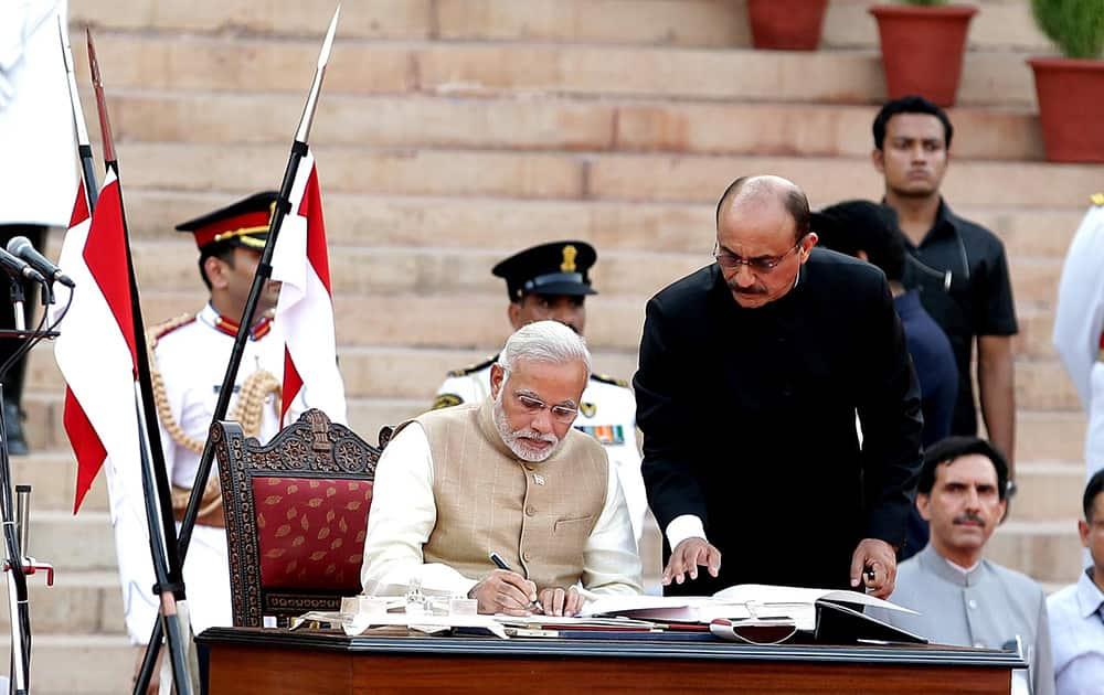 Narendra Damodardas Modi sworn in as India's 15th prime minister at a historic ceremony at Rashtrapati Bhavan on May 26.