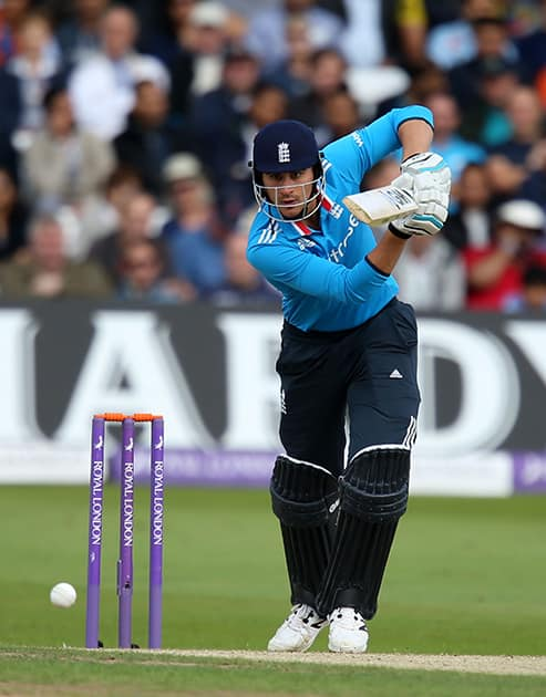 England's Alex Hales during their One Day International cricket match against India at the Trent Bridge cricket ground in Nottingham, England.