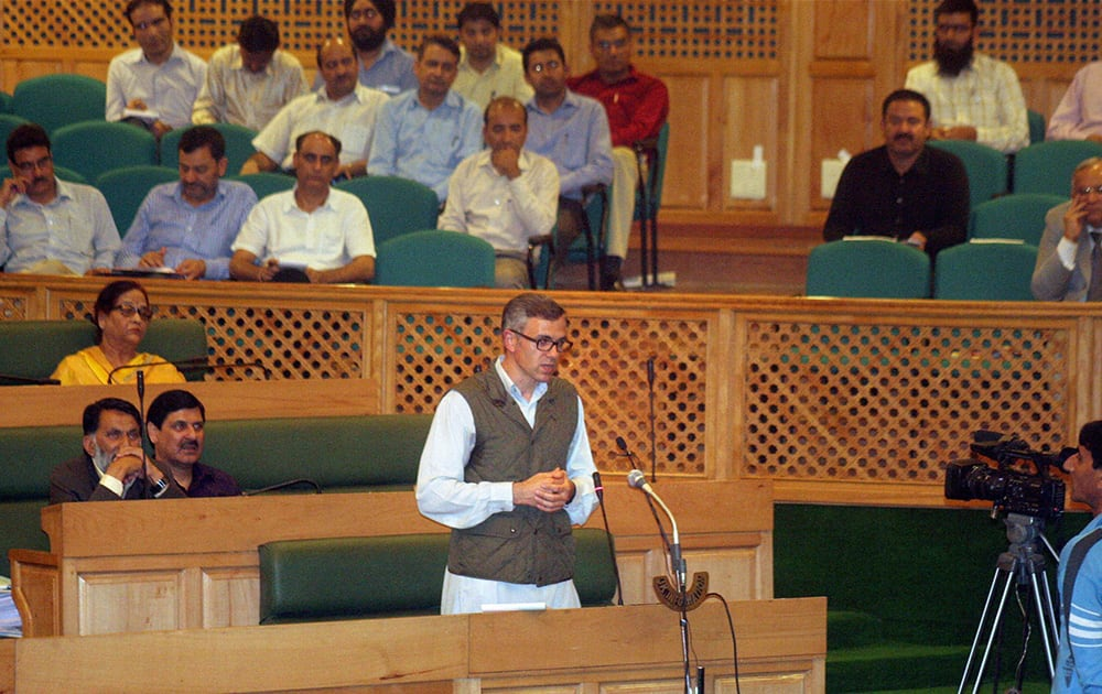 Chief Minister of Jammu and Kashmir Omar Abdullah address the Assembly on the last day of its session in Srinagar..