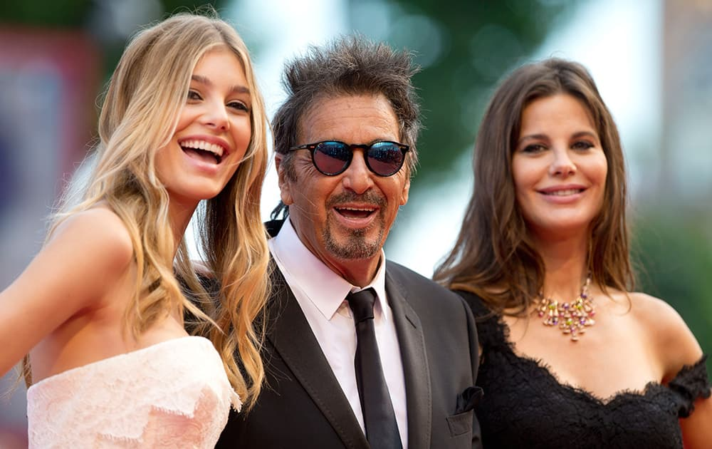 Camila Sola, Al Pacino and Lucila Sola arrive for the screening of the movie 'Manglehorn' at the 71st edition of the Venice Film Festival in Venice.