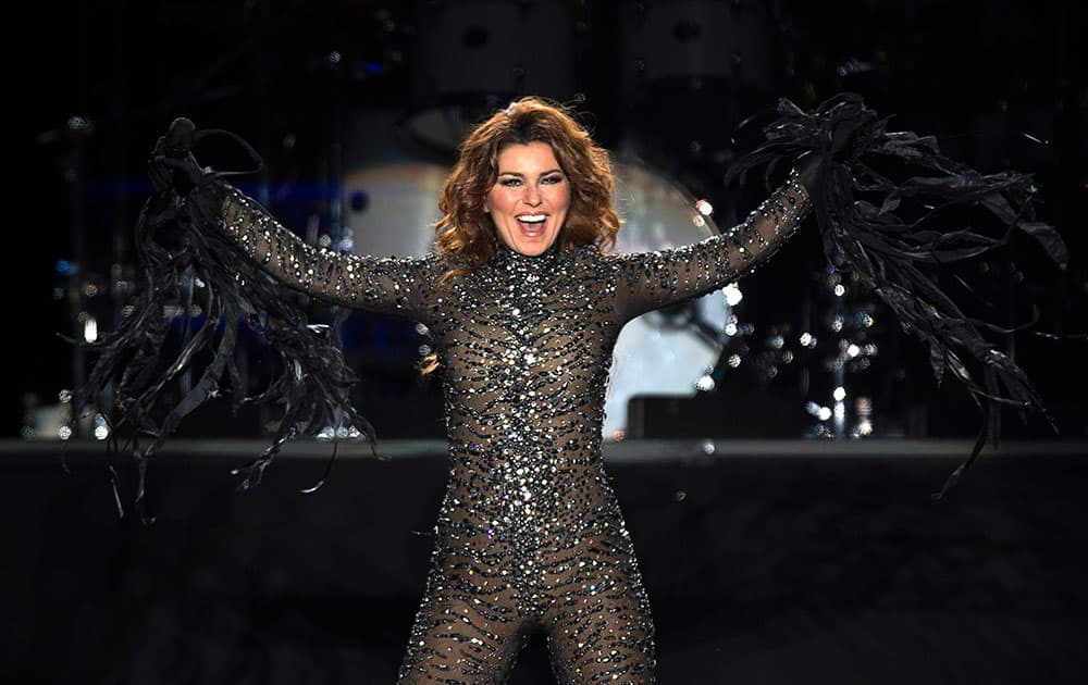 Shania Twain performs at the PEI 2014 Founders Week Concert at the Charlottetown Event Grounds in Charlottetown, Canada.