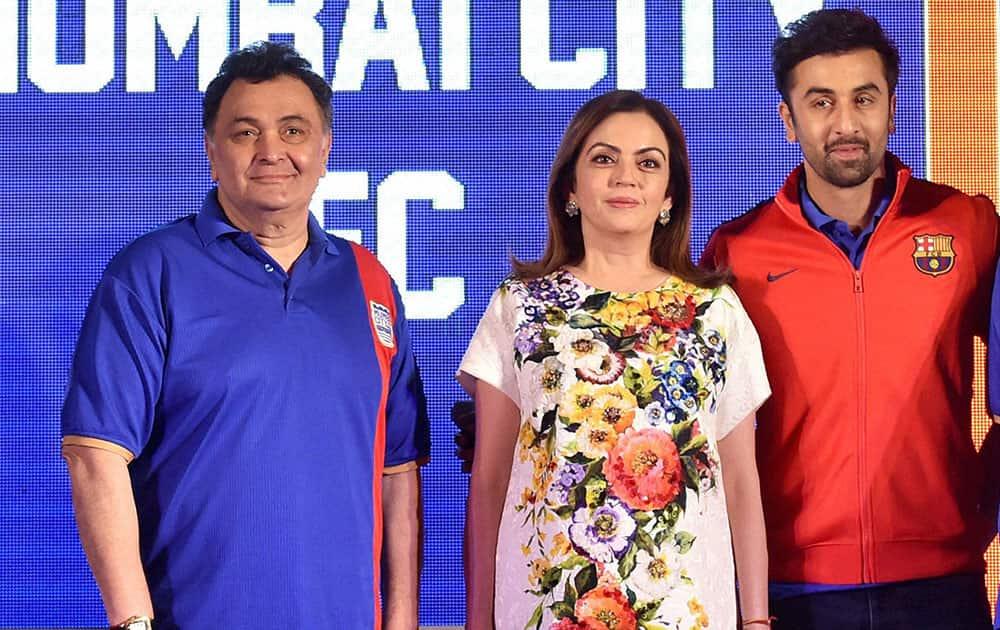 Nita Ambani and Rishi Kapoor at the launch event of Ranbir Kapoor's football club Mumbai City FC in Mumbai.