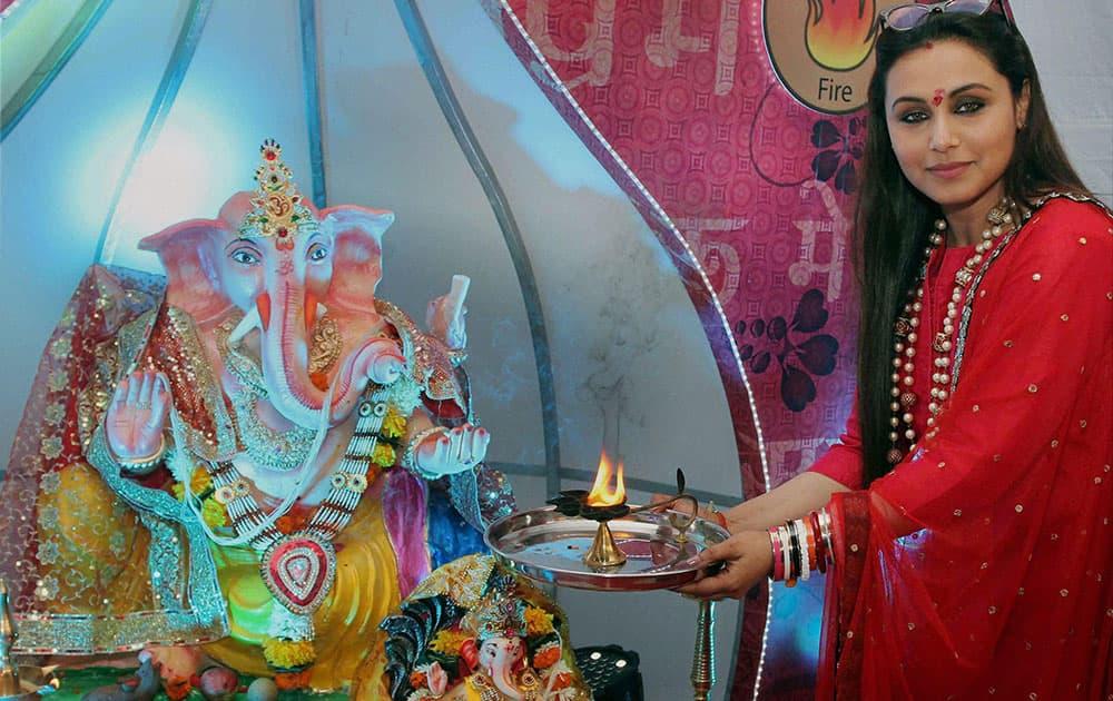 Bollywood actress Rani Mukherjee celebrating Ganesh Chaturthi in Mumbai.