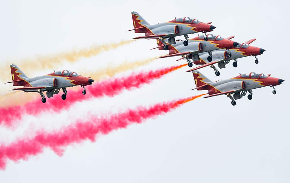 Spanish aerobatic team `Patrulla Aguila` perform at the air show AIR14 in Payerne, Switzerland.