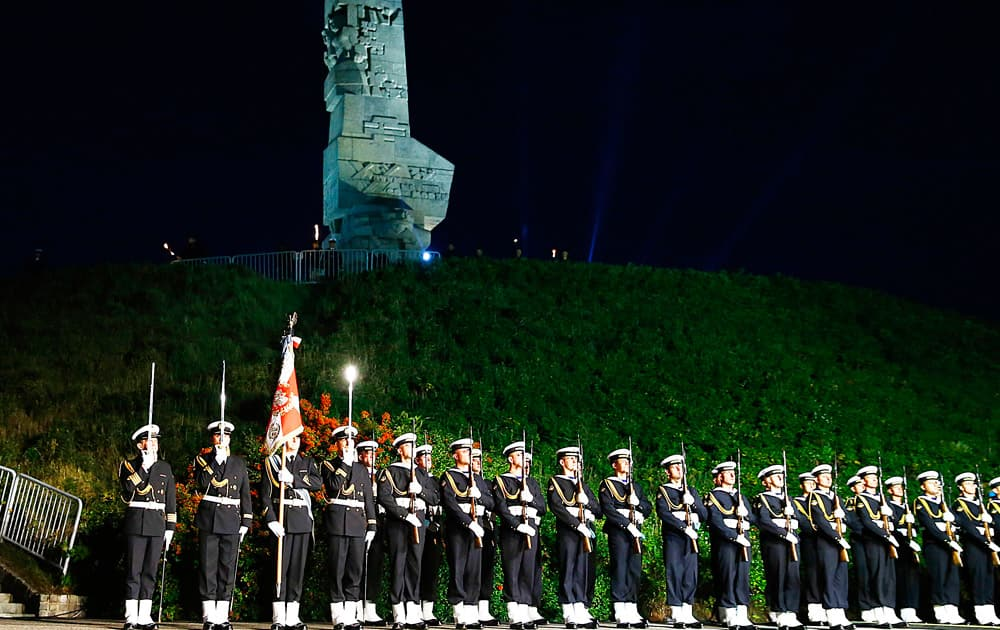 Soldiers of the honour guard in front of the Westerplatte monument during ceremony marking the 75th anniversary of the start of World War II at the Westerplatte peninsula near Gdansk, Poland.