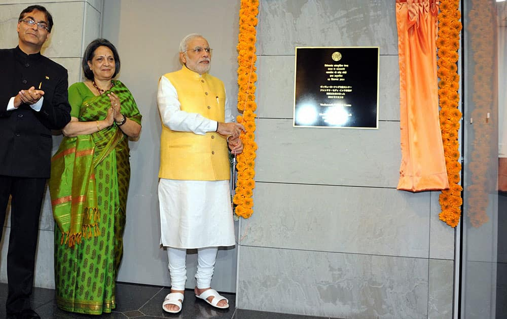 Prime Minister Narendra Modi inaugurates the Vivekananda Cultural Centre at the Indian embassy in Tokyo, Japan.