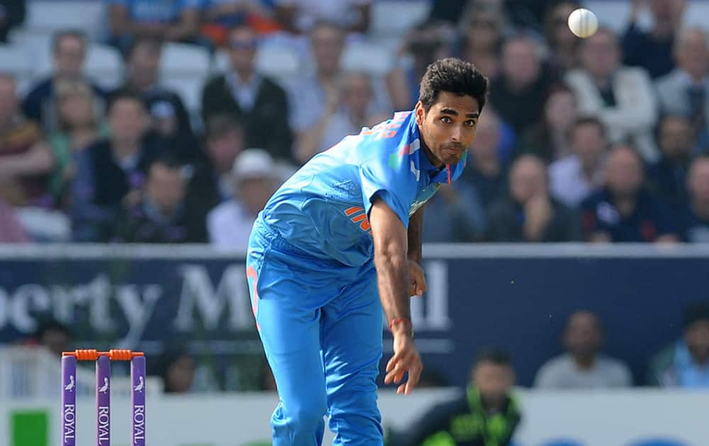 Bhuvneshwar Kumar bowling during the fifth One Day International match between England and India at Headingley cricket ground, Leeds, England.